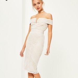 Off the shoulder midi length dress